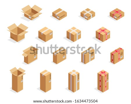All types of carton box. Realistic cardboard boxes template. Fragile scotch tape. Open and closed packages. Delivery mockup. Blank brown pack collection. Frail icon. Vector illustration.