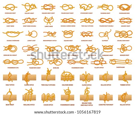 All types of knots demonstrated with strong rope. Strong and complicated knots with names. Rope tied over wooden plank isolated vector illustrations.