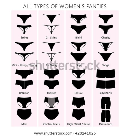All types of women's panties. Vector set of underwear. Silhouette ass in front and behind. string, thong, tanga, bikini, cheeky, hipster, boyshorts, classic brief, slip, high waist, retro