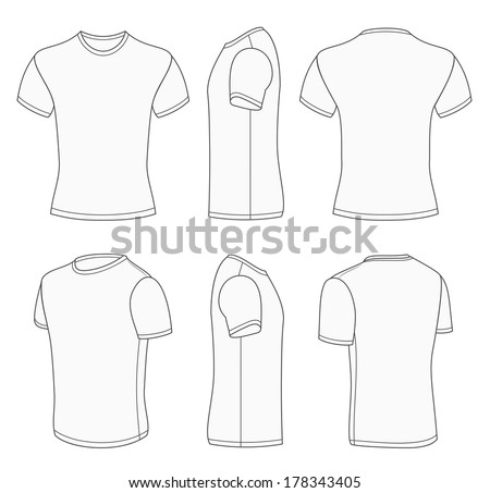 Plain white v neck t shirt template
