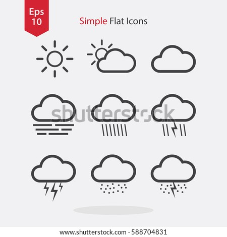 All Weather Flat Icons. Simple Signs Of Applications. Vector Illustrated Symbols.