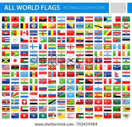 All World Flags - Vector Rectangle Glossy Icons