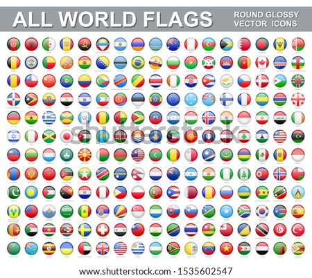 All world flags - vector set of round glossy icons. Flags of all countries and continents
