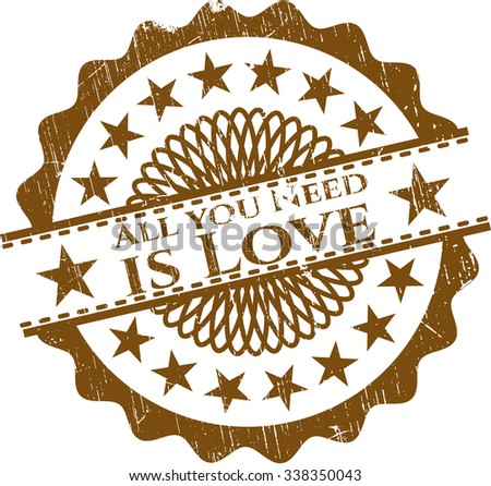 All you Need is Love rubber stamp with grunge texture