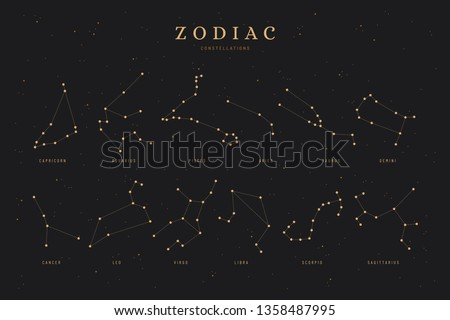 all 12 zodiac constellations on a dark night sky background with stars, astrology, astronomy spiritual vector design elements