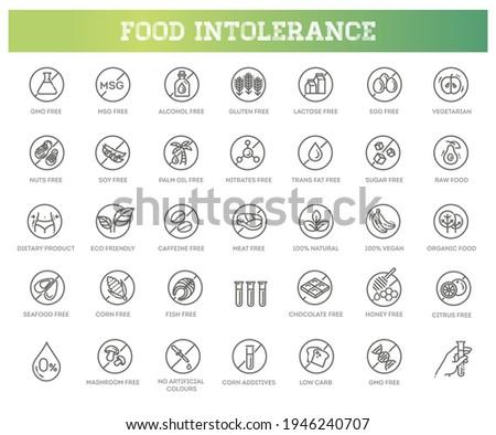Allergen ingredients vector icons. Product free allergen ingredient symbols Сток-фото ©