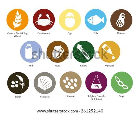 Allergen symbols information vector set Foto stock ©