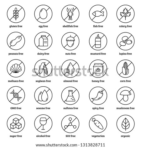 Allergens line icons vector set on white background.