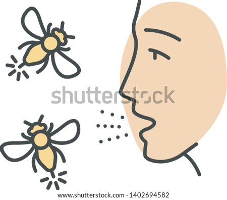 Allergies to insect stings color icon. Hypersensitivity of immune system. Human face and flying insects. Allergic reaction to wasps, hornets and bees bites. Isolated vector illustration