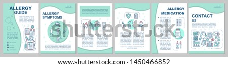 Allergy guide brochure template layout. Symptoms, treatment. Flyer, booklet, leaflet print design with linear illustrations. Vector page layouts for magazines, annual reports, advertising posters
