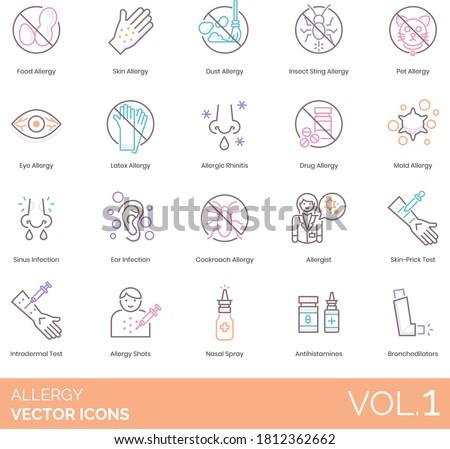 Allergy icons including food, dust, insect sting, latex, allergic rhinitis, sinus, ear infection, cockroach, allergist, skin prick test, intradermal, shots, nasal spray, antihistamine, bronchodilator.