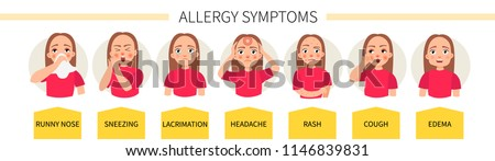 Allergy symptoms - lacrimation, sneezing, cough, runny nose, headache, rash, swelling