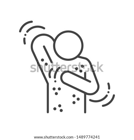 Allergy symptoms line black icon. Skin rash. Dermatological diseases. Itchy spots on body. Sign for web page, mobile app, button, logo. Vector isolated element. Editable stroke.