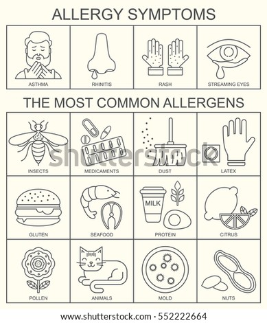 Allergy symptoms vector illustration. The most common allergens black on white line style icons set. Medical background. Medicine and health pattern.