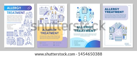 Allergy treatment brochure template layout. Allergic disease prevention. Flyer, booklet, leaflet print design with illustrations. Vector page layouts for magazines, annual reports, advertising posters