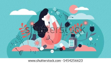 Allergy vector illustration. Flat tiny anaphylaxis person concept. Illness with cough, cold and sneeze symptoms. Allergen drugs, food and air reaction. Pharmacy therapy and tissue help.