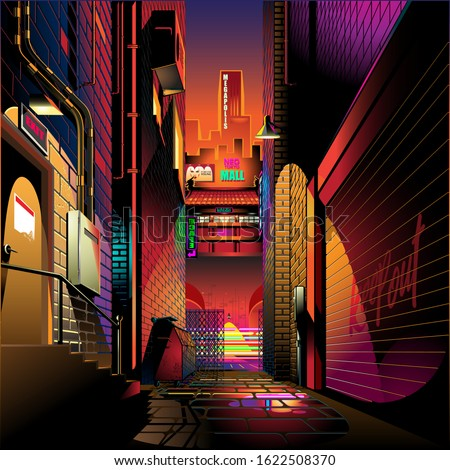 alley at sunset vector