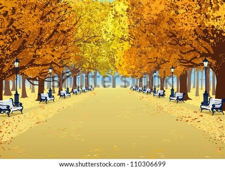alley in autumn park between