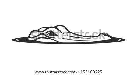 Alligator face emerging from water vector icon