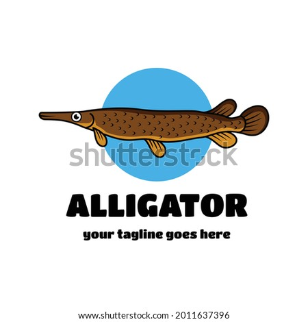 Alligator Gar Unique cartoon vector logo design Photo stock ©