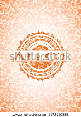 Allot abstract orange mosaic emblem with background