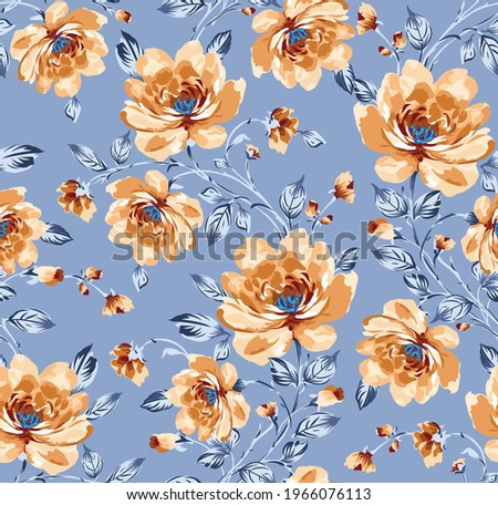 allover vector flower Pattern with bunch on grey background Stock photo ©