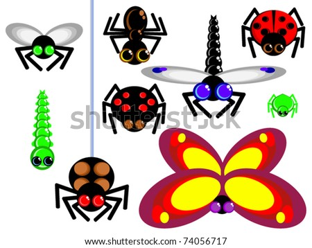 Alluring vector icons insects. Isolated on white. For children. Simple. Fly, spider, dragonfly, butterfly, ant, and others.