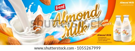Almond milk ads with delicious alternative beverage and seeds pouring down into glass cup in 3d illustration, blue sky background