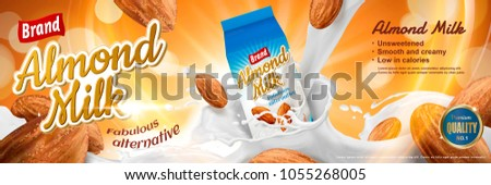 Almond milk ads with splashing liquid and seeds around the carton container in 3d illustration