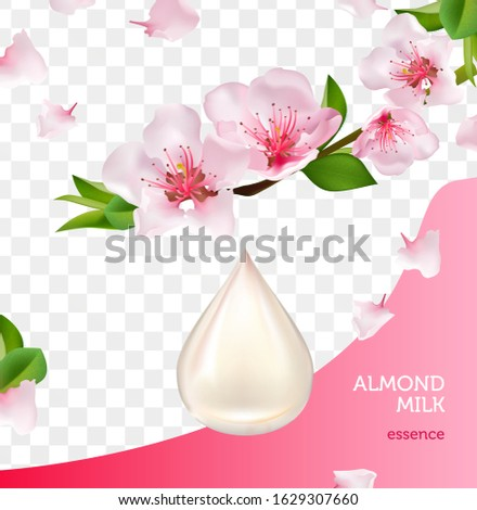 almond milk drop and branch
