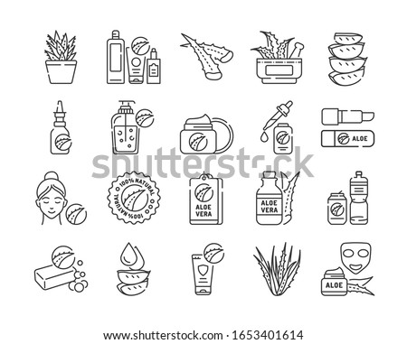 Aloe black line icons set. Care products with aloe extract for face and body. Skincare. Cosmetics. Pictogram for web page, mobile app, promo. UI UX GUI design element. Editable stroke.