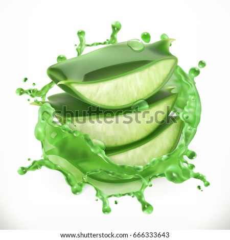 Aloe juice, health and care 3d vector icon