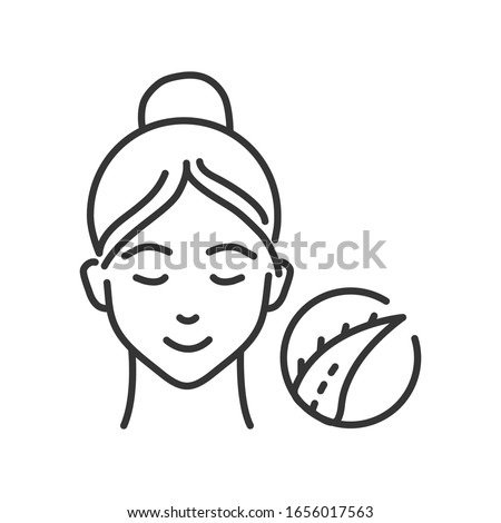 Aloe mask black line icon. Soothing, deep-penetrating treatment for irritated or inflamed skin. Face skincare. Pictogram for web page, mobile app, promo. UI UX GUI design element. Editable stroke. Photo stock ©