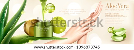 Aloe vera cream with extract liquid dripping down from top, model's hand in the middle in 3d illustration