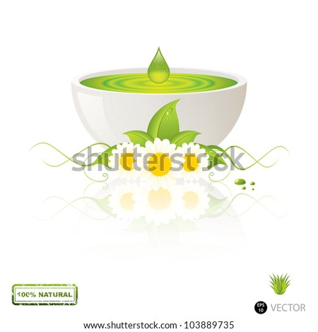 Aloe Vera gel drop.Alternative medicine vector - stock vector