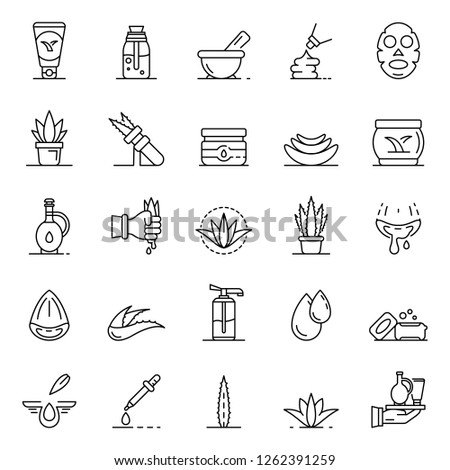 Aloe vera icon set. Outline set of aloe vera vector icons for web design isolated on white background