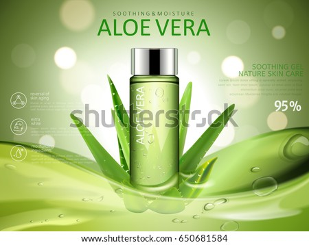 aloe vera soothing gel ad, with cosmetic bottle and aloe vera elements, green blurred background 3d illustration