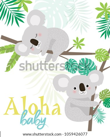 Aloha baby card for Baby Shower party or Birthday with fun koalas. Editable vector illustration
