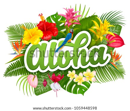 Hawaii flowers vector download free vector art stock graphics aloha hawaii hand drawn lettering and tropical plants leaves and flowers hawaiian language greeting m4hsunfo