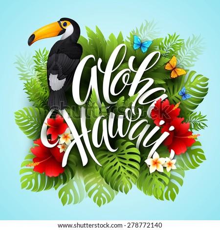 aloha hawaii hand lettering