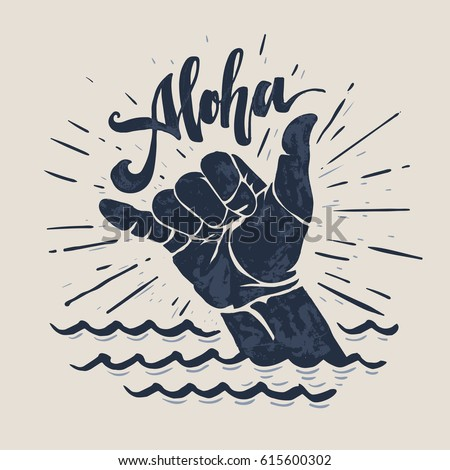 aloha   lettering surfing print