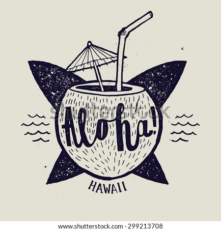 Aloha Surfing Lettering Vector Calligraphy Illustration