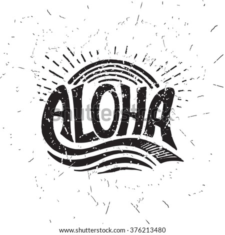 aloha surfing lettering. vector ...