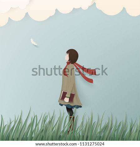 alone girl in winter coat on