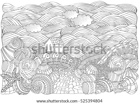 Alone House And Shells Seascape Coloring Book Page For Adult A4 Size