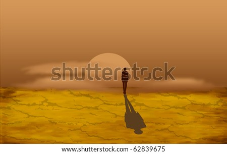 alone man in the desert at the