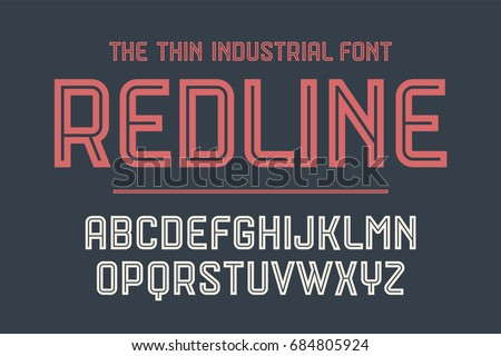 Alphabet and font Red Line. Bold, regular and medium uppercase letters. Strong trendy industrial inline font for creative design, advertising, typographic. Vector Illustration