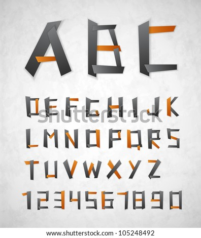 Alphabet and numbers from paper. Eps 10
