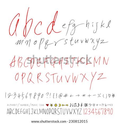alphabet and numbers - hand drawn in vector   / Handwritten alphabet
