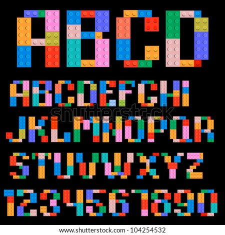 Alphabet and numbers made of plastic building blocks